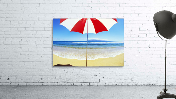 Red And White Umbrella On The Beach, Blue Sky And Ocean