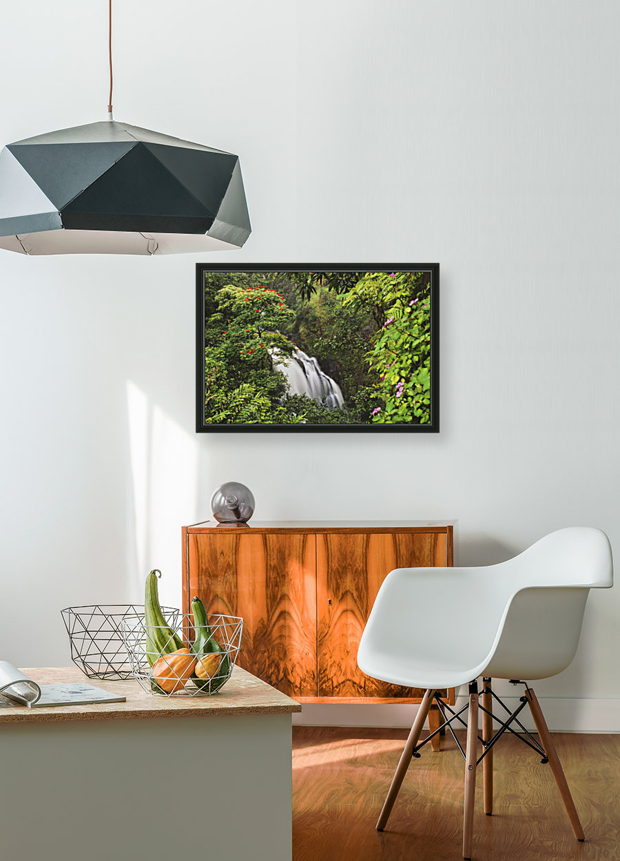 Hawaii, Maui, Hana, Waterfall Surrounded By Tropical Flowers And Plants with Floating Frame