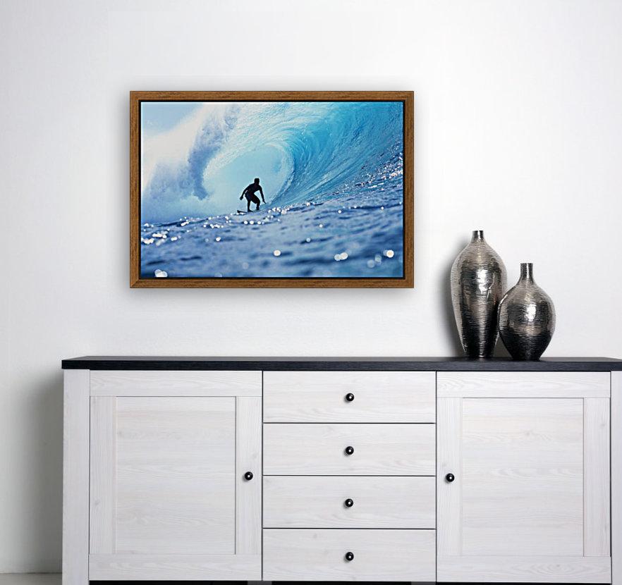 Hawaii, Oahu, North Shore, Silhouette Of Surfer In Pipeline Barrel  Art