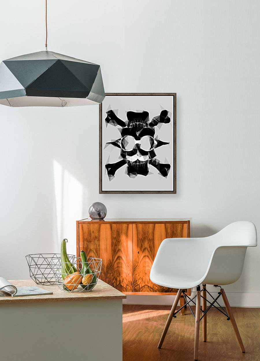 psychedelic skull art geometric triangle pattern abstract in black and white  Art