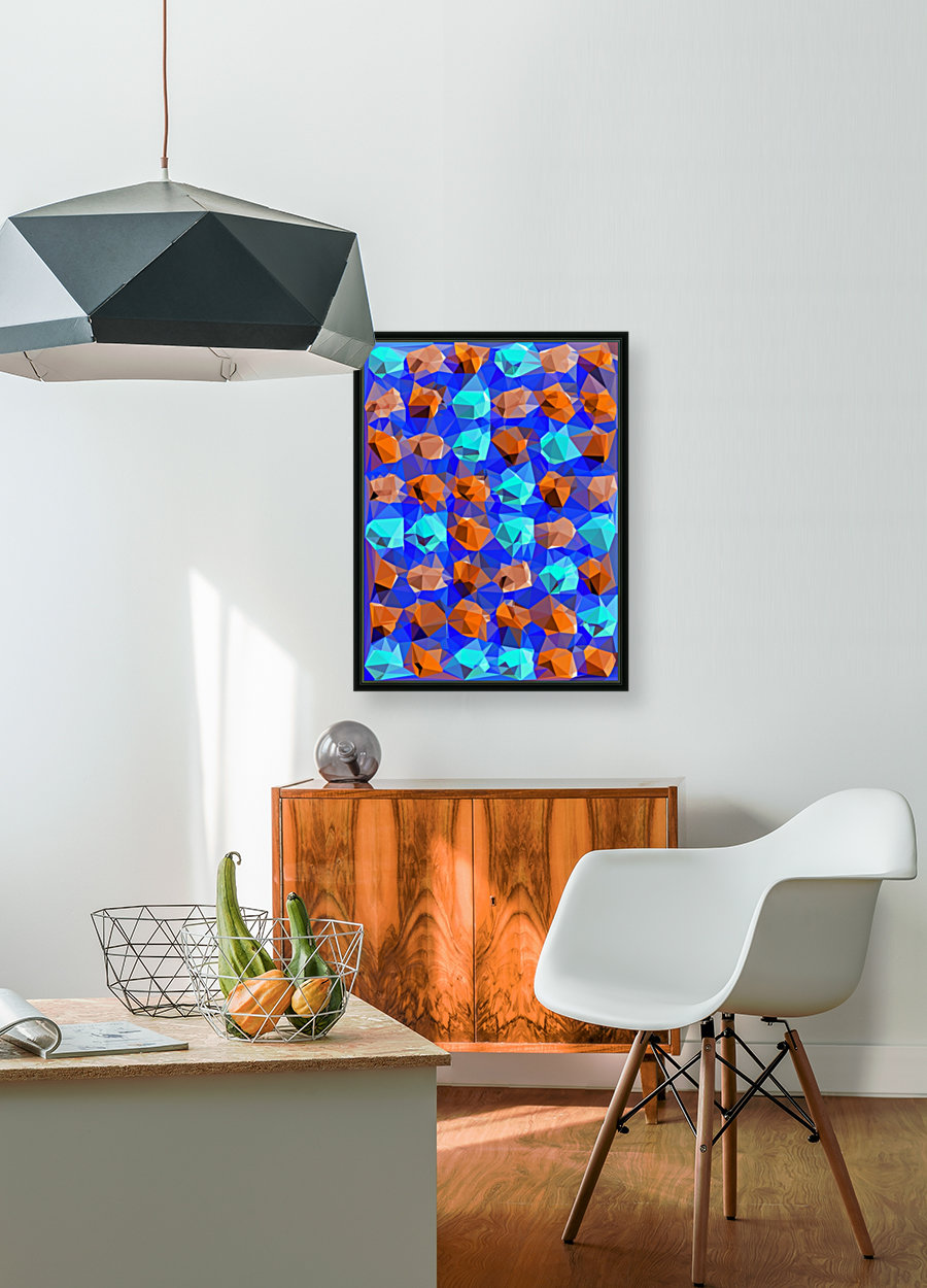 geometric polygon abstract pattern in blue and brown  Art