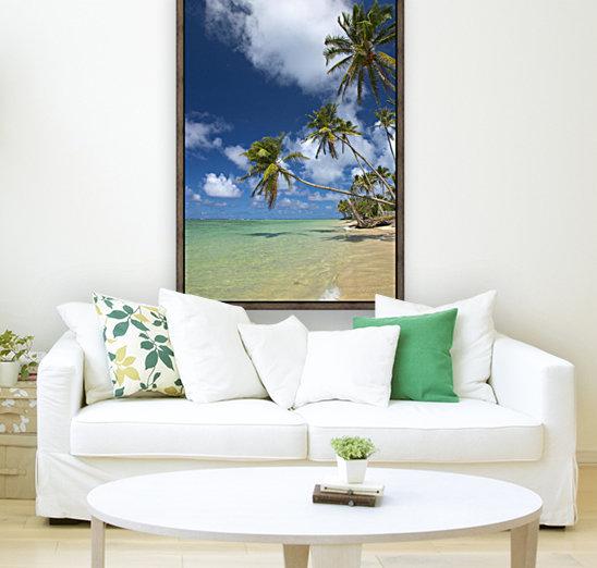 Hawaii, Palm Trees Lean Over Beach, Calm Turquoise Ocean, Dramatic Sky.  Art