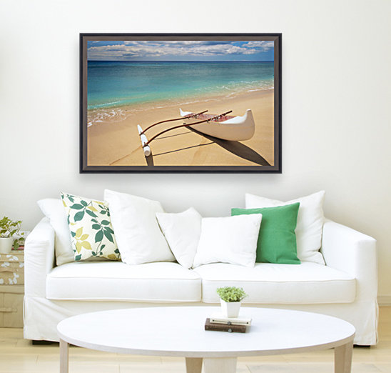 White Outrigger Canoe On Shoreline With Shadow, Calm Turquoise Water  Art