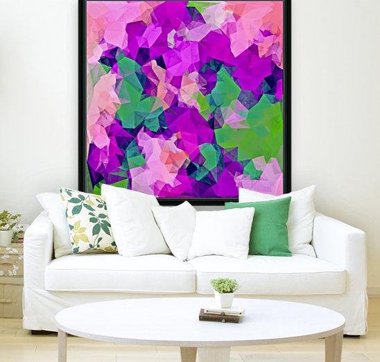 psychedelic geometric polygon pattern abstract in pink purple green  Art
