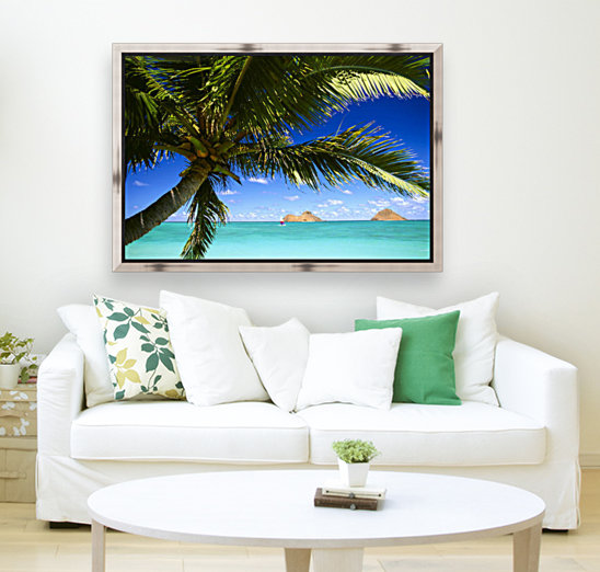 Hawaii, Oahu, Lanikai, Palm Tree Foreground, With Mokulua Islands Background, Sailboat In Turquoise Waters.  Art