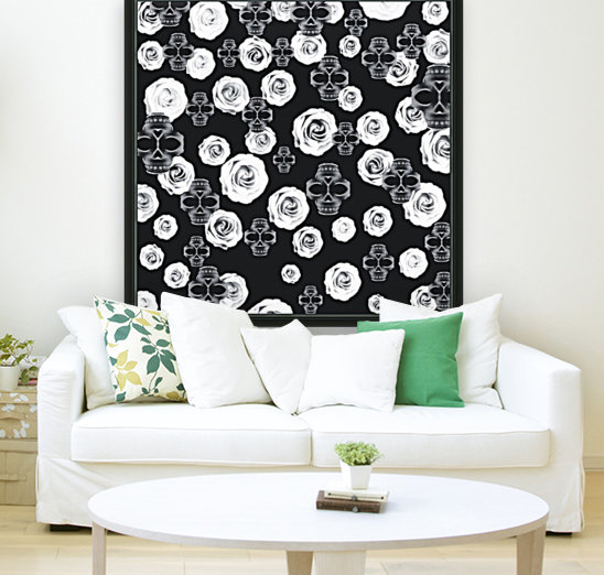 vintage skull and rose abstract pattern in black and white  Art