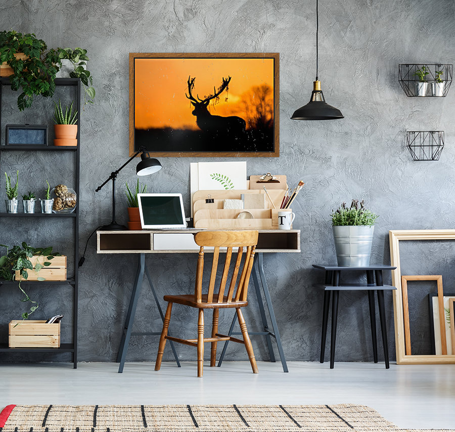 Red Deer Stag Silhouette with Floating Frame