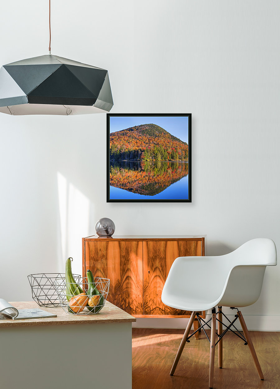 Mountain reflected in Sugarloaf pond in autumn; Quebec, Canada  Art