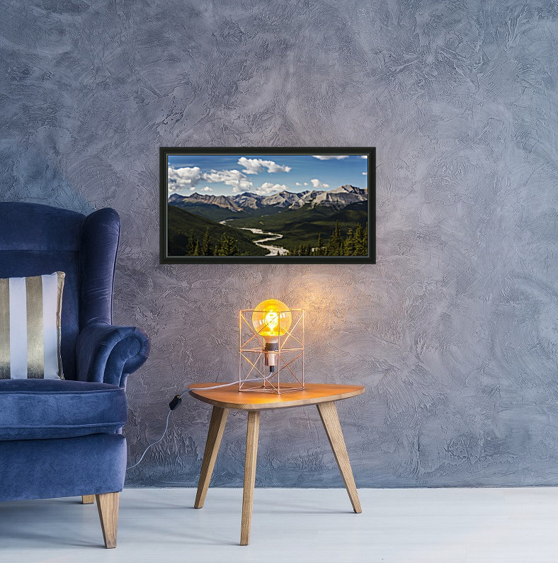 Panorama of river valley and mountain range with blue sky and clouds; Bragg Creek, Alberta, Canada  Art