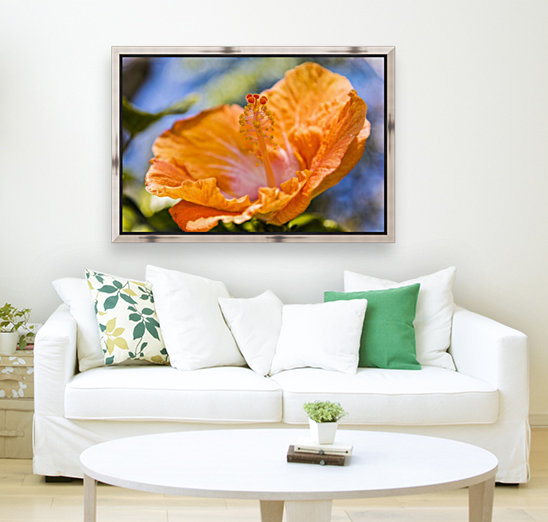 Close-up of orange hibiscus flower; Maui, Hawaii, United States of America  Art