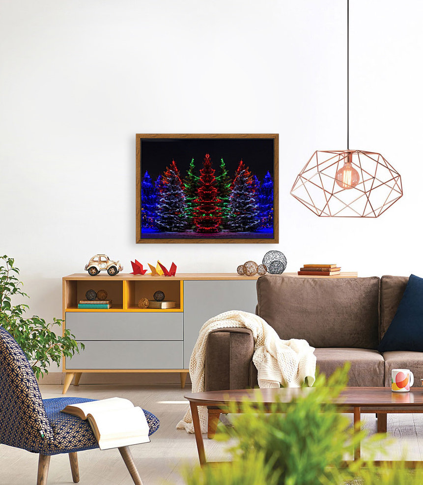 Colourful Christmas lights around several evergreen trees; Calgary, Alberta, Canada  Art