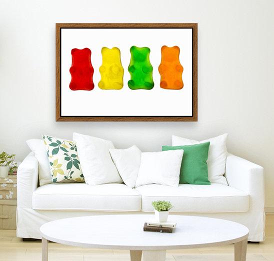 Colourful candied gummy bears in a row backlit; Calgary, Alberta, Canada  Art