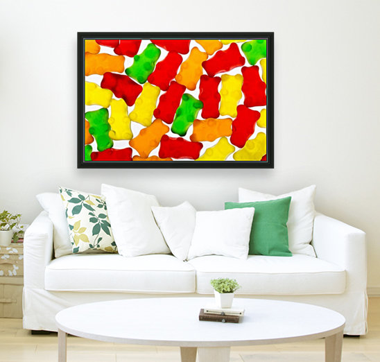 Colourful candied gummy bears backlit; Calgary, Alberta, Canada  Art