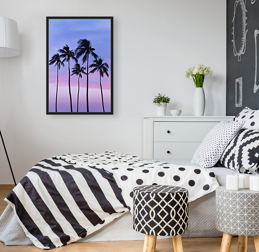 Five coconut palm trees in line with cotton candy sunset behind; Honolulu, Oahu, Hawaii, United States of America  Art