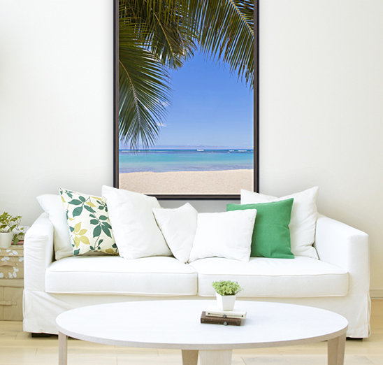 Beautiful clear day on a white sandy beach with coconut palm tree fronds hanging above; Honolulu, Oahu, Hawaii, United States of America  Art