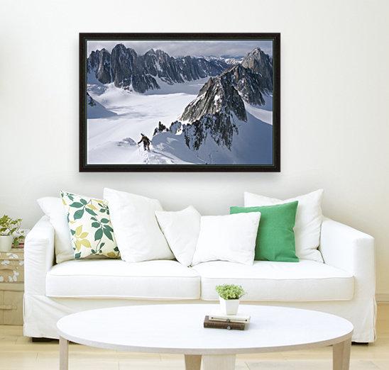 Mountaineer Climbing On Narrow Ridge In Kichatna Mtns Denali National Park Interior Alaska Winter  Art