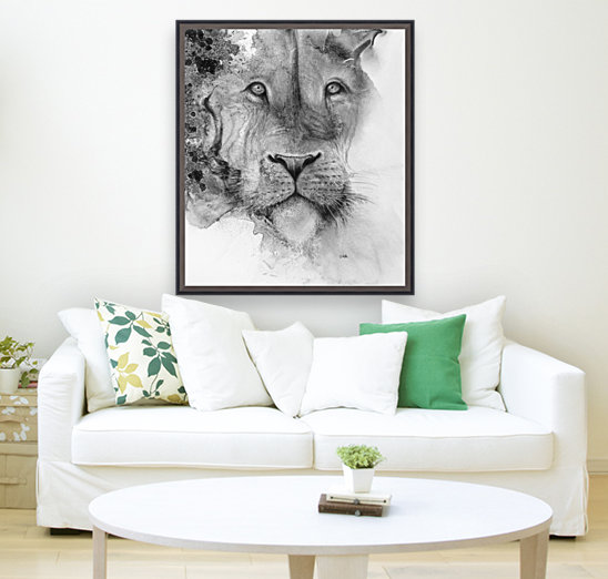 Illustration of a lion's face and a mottled background  Art
