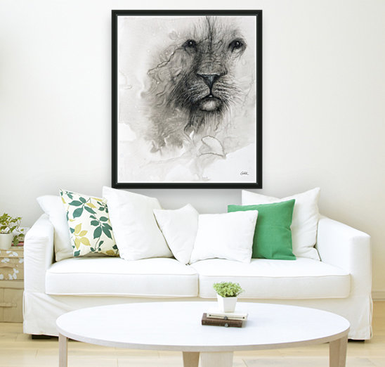 Illustration of a lion's face on a white background  Art