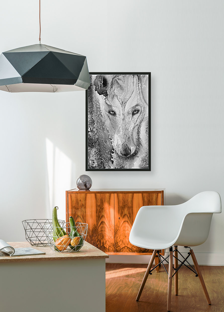 Illustration of a wolf and a mottled background  Art