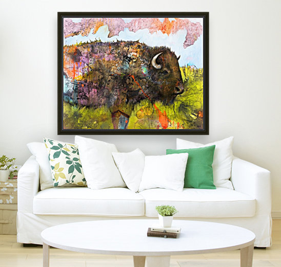 Illustration of a buffalo with colourful splashes and landscape  Art