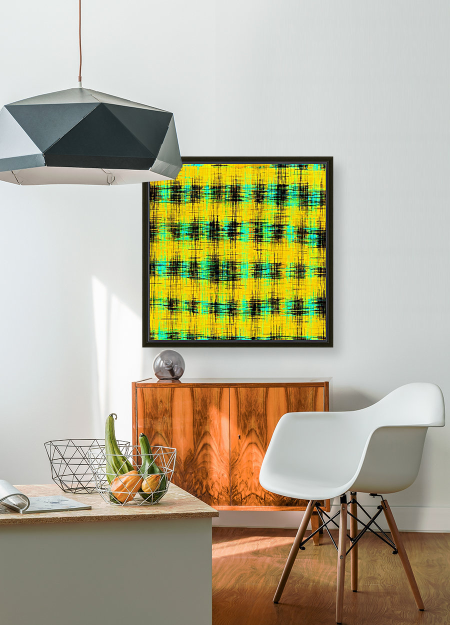 plaid pattern abstract texture in yellow green black  Art