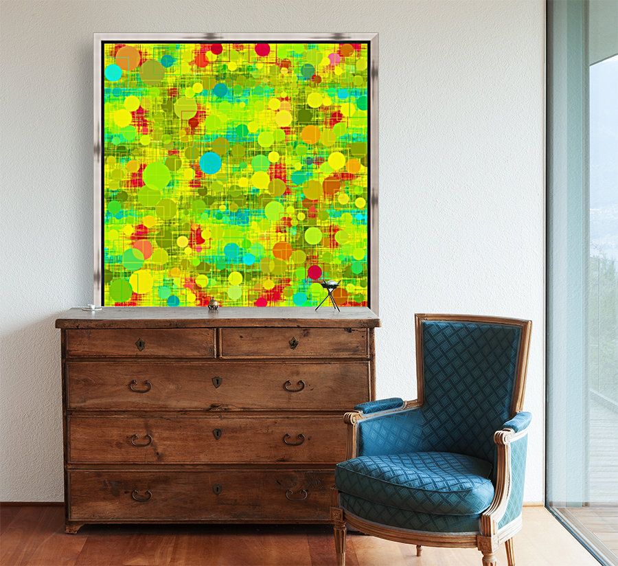 psychedelic geometric circle and square pattern abstract in yellow green blue red  Art