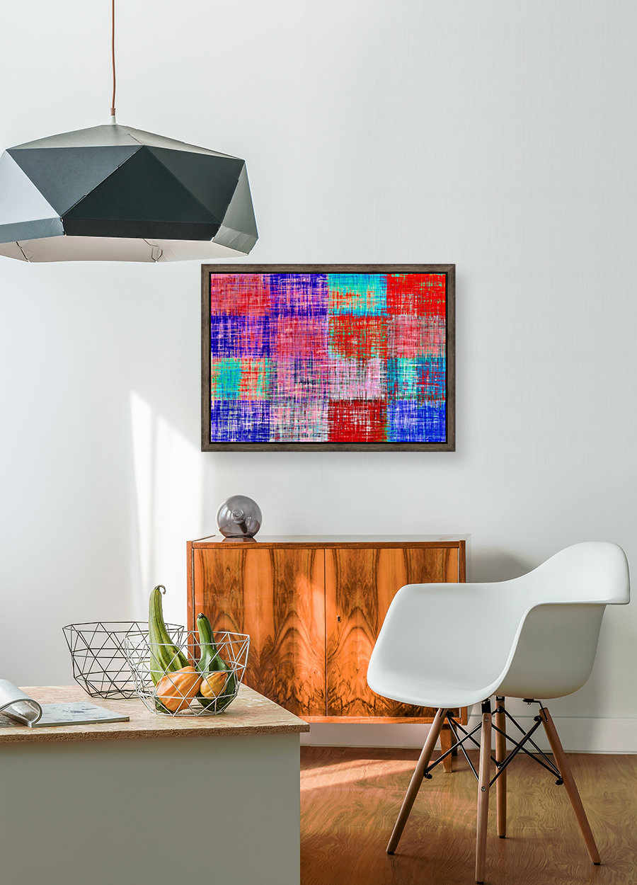 square plaid pattern texture abstract in red blue pink purple  Art