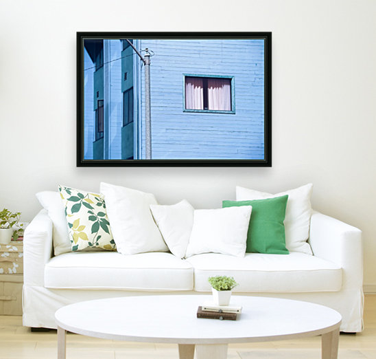 vintage blue wood building with window and electric pole  Art