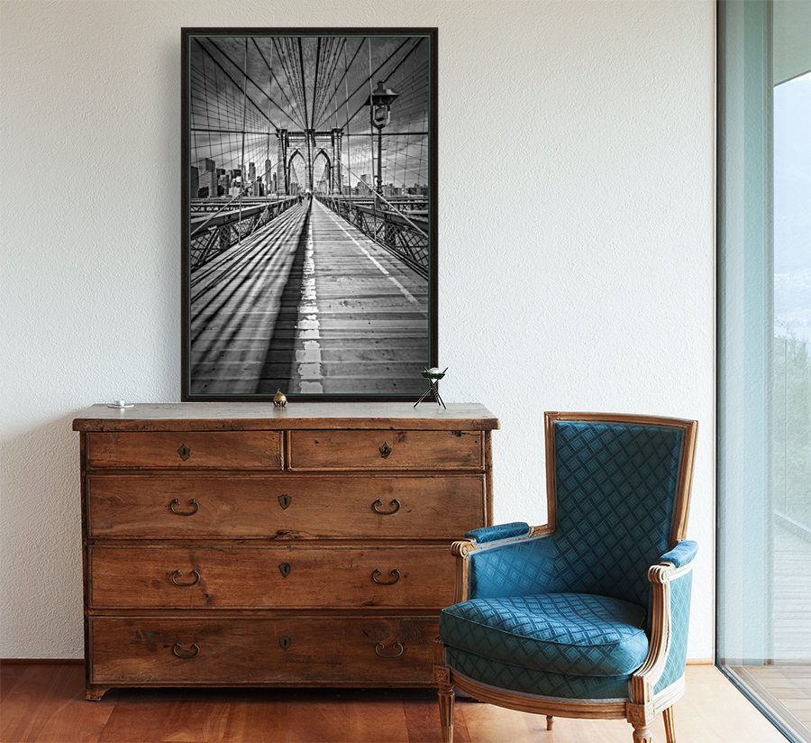NEW YORK CITY Brooklyn Bridge with Floating Frame