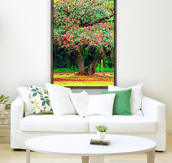 big tree with green yellow and red leaves with Floating Frame