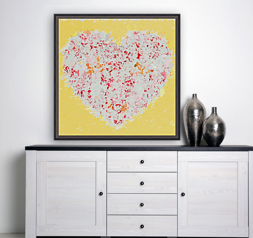 pink and red heart shape with yellow background  Art