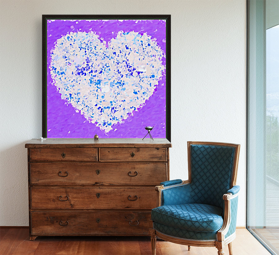 blue and white heart shape with purple background  Art
