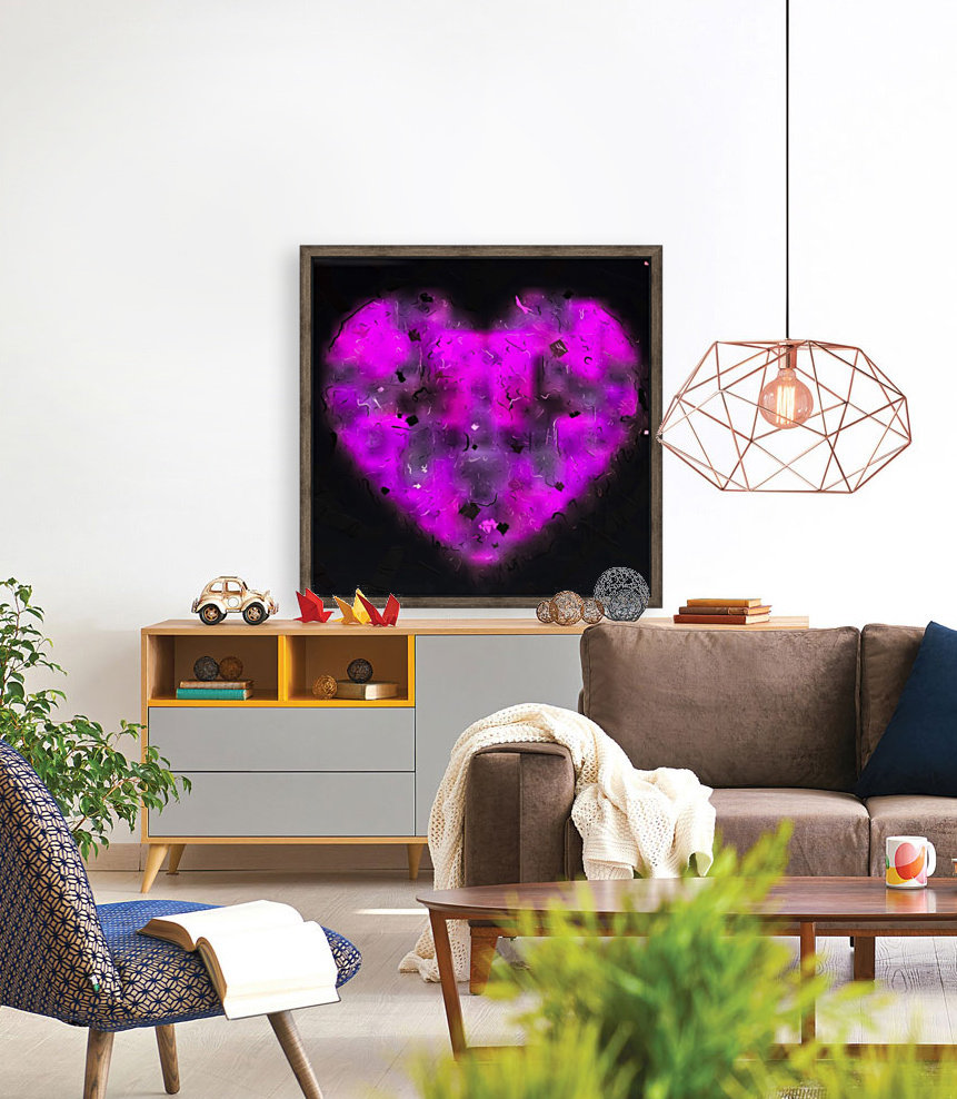 pink blurry heart shape with black background  Art