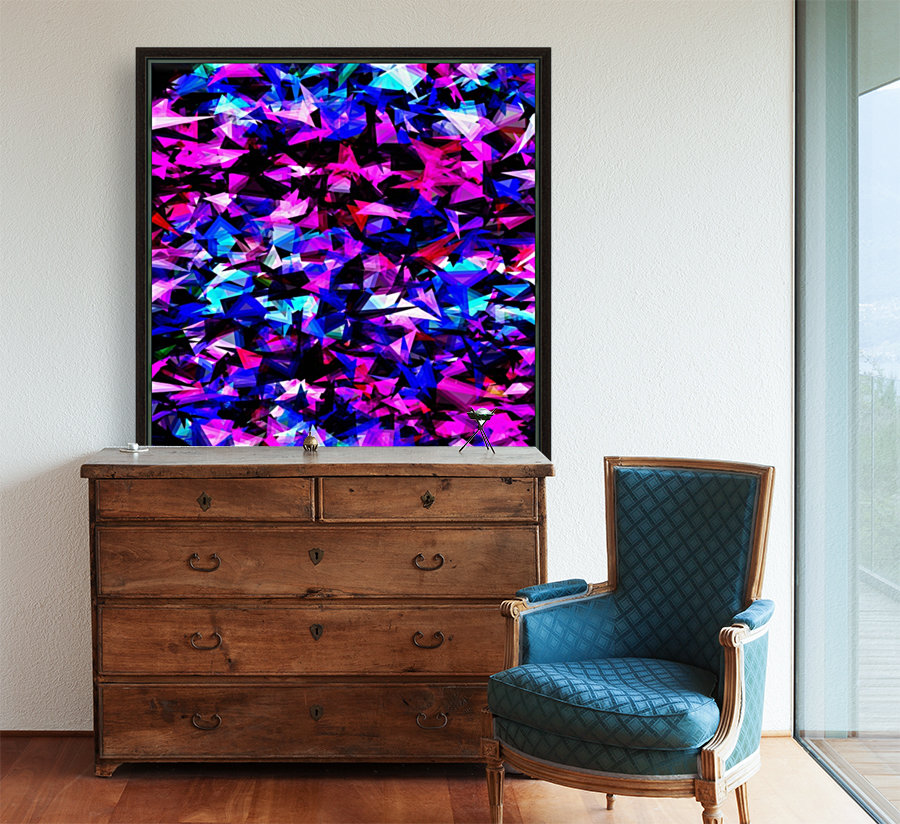 psychedelic geometric triangle polygon abstract pattern in pink blue black  Art