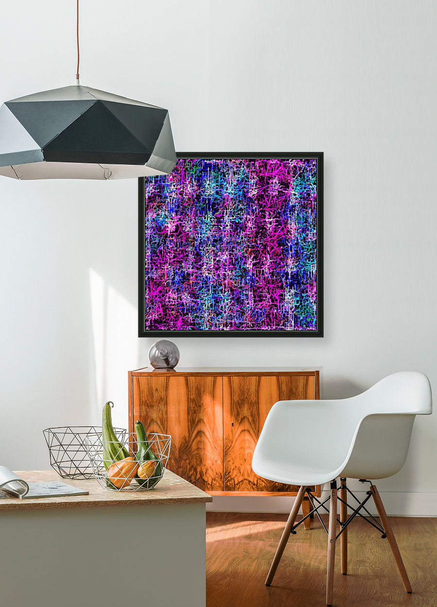 psychedelic abstract art pattern texture background in pink blue black with Floating Frame