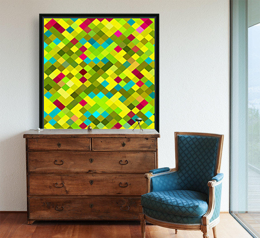 geometric square pixel pattern abstract in yellow red green blue  Art