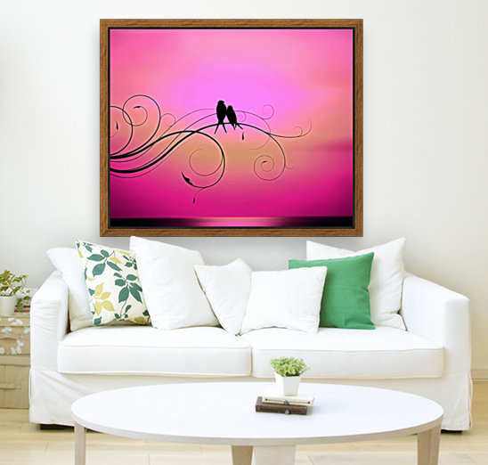 Love Birds Sunset Pink - Illuminary Artworks Canvas