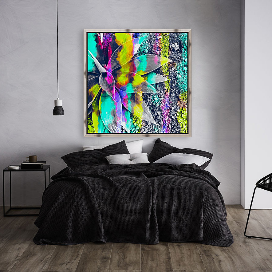 succulent plant with painting abstract background in green pink yellow purple  Art
