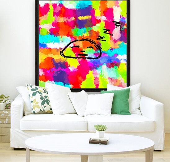 sleeping cartoon face with painting abstract background in red pink yellow blue orange  Art