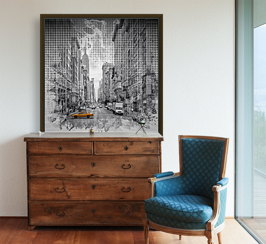 Graphic Art NEW YORK CITY 5th Avenue with Floating Frame