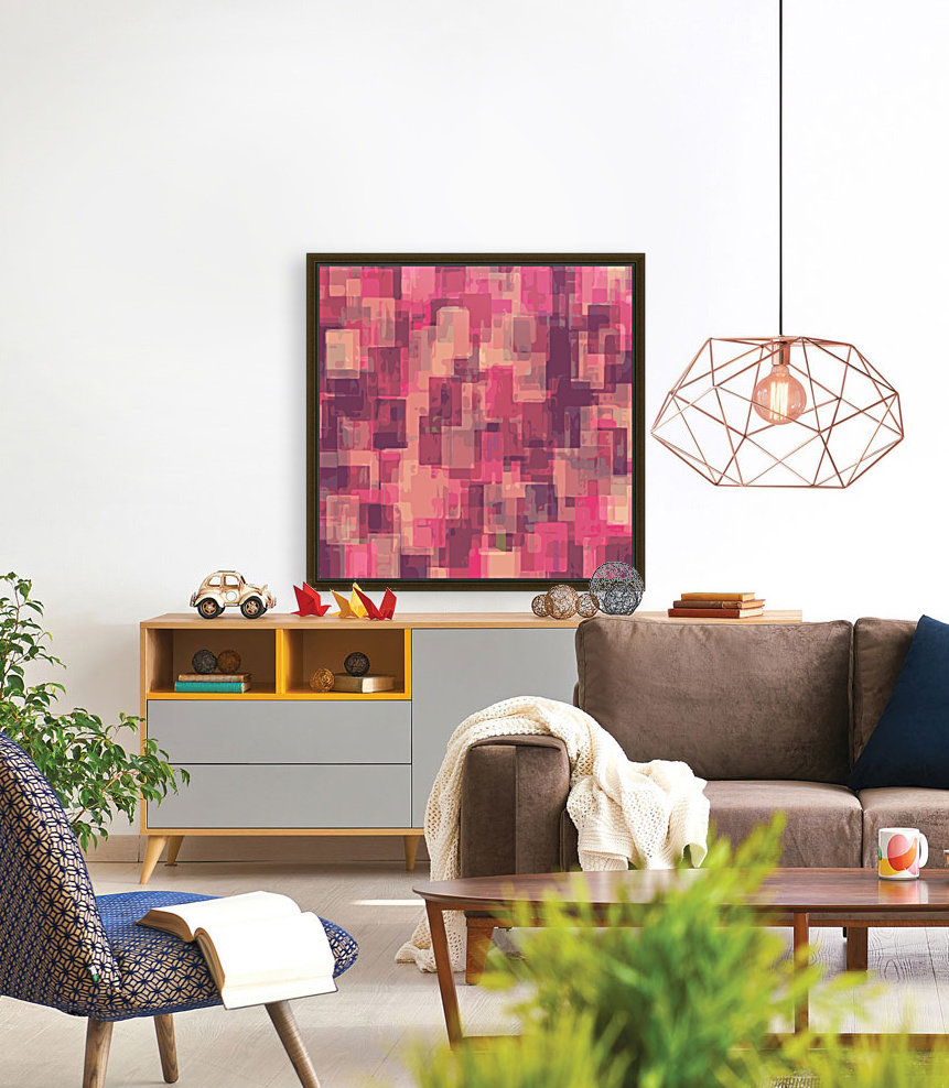 psychedelic geometric square pattern abstract in pink and purple  Art