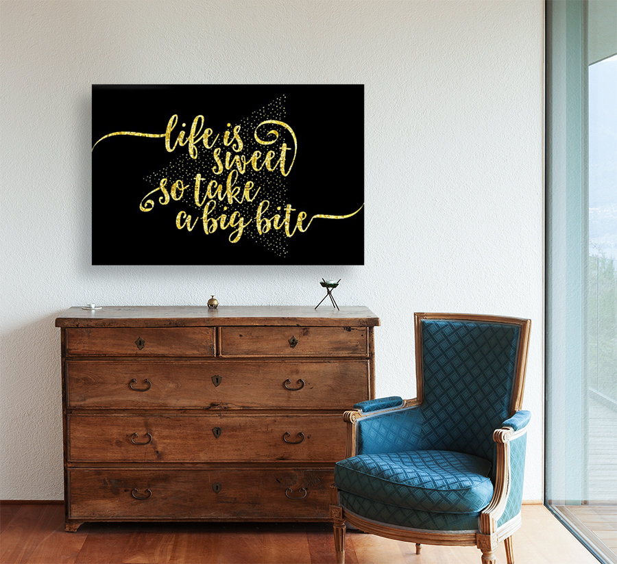 TEXT ART GOLD Life is sweet  with Floating Frame