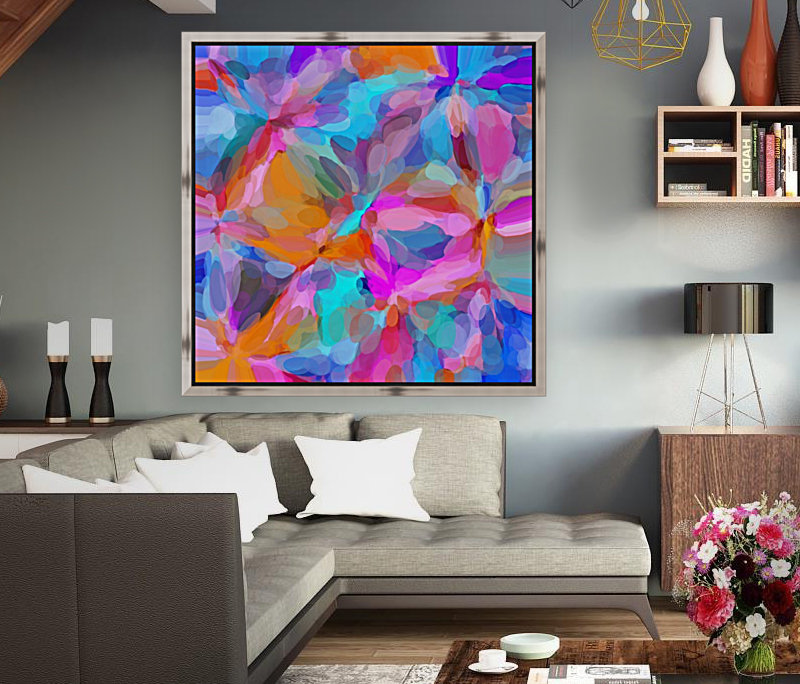 circle pattern abstract background in pink orange and blue  Art