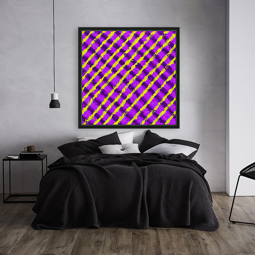 line pattern painting abstract background in purple and yellow  Art