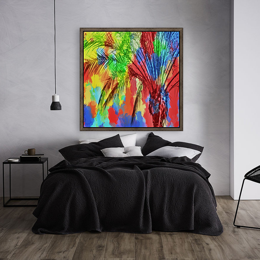 isolate palm tree with painting abstract background in red blue green yellow  Art