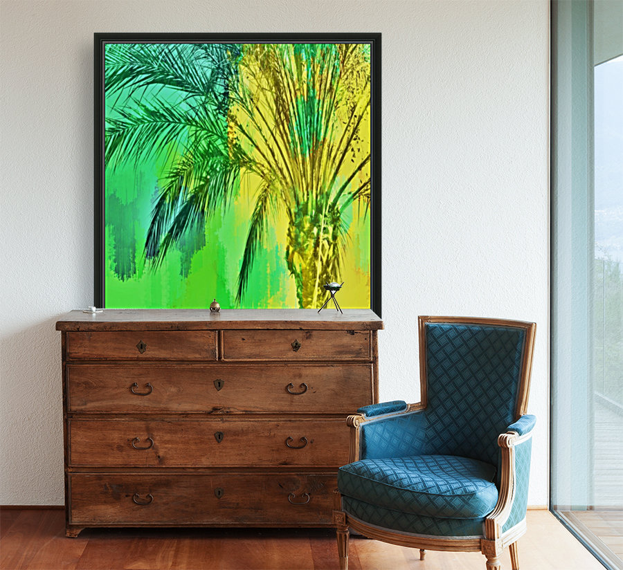 isolate palm tree with painting abstract background in green yellow  Art