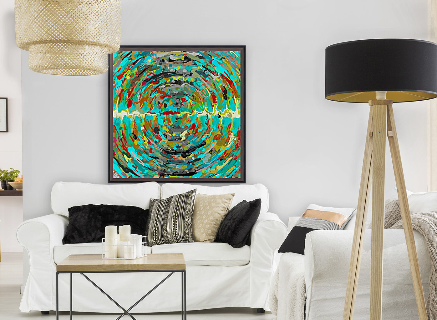 psychedelic circle pattern painting abstract background in green blue yellow brown  Art