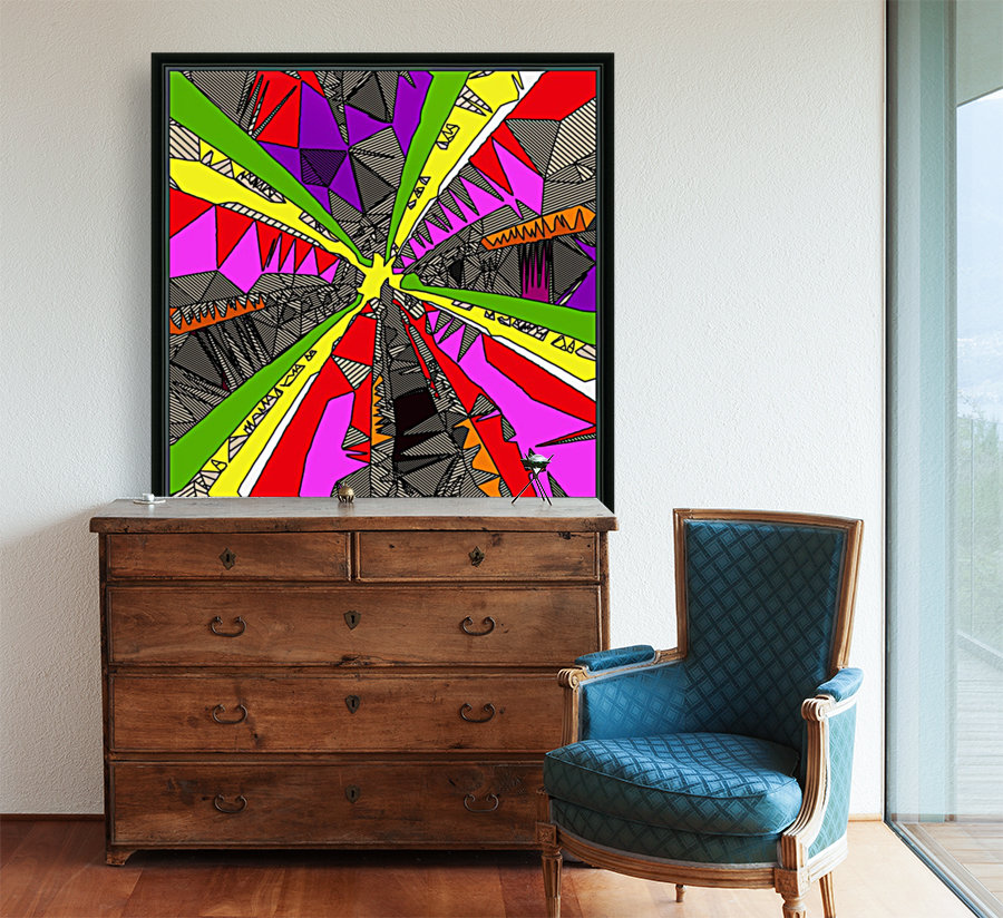 psychedelic geometric pattern drawing abstract background in red pink green yellow  Art
