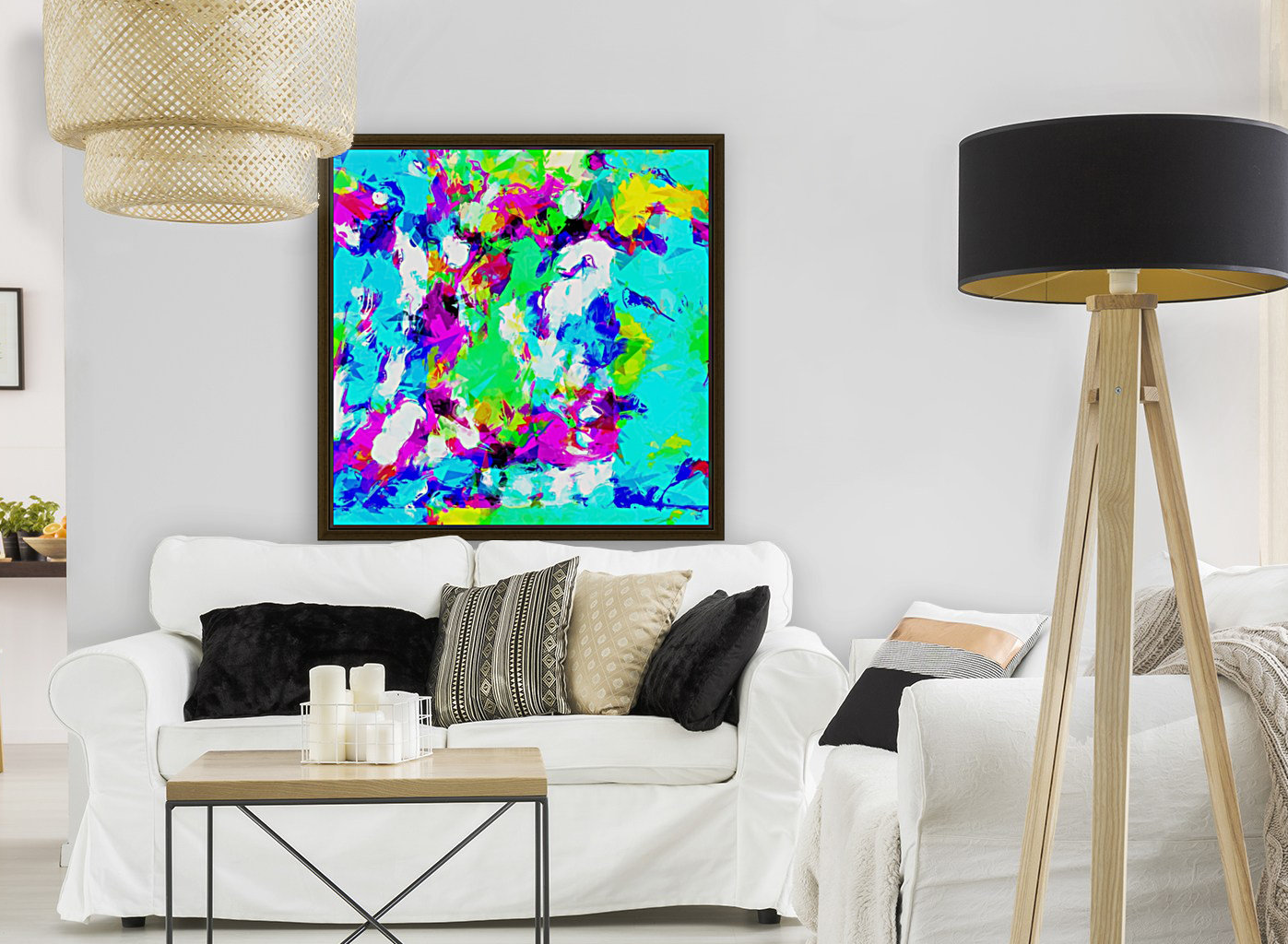 psychedelic geometric pattern painting abstract background in blue ...