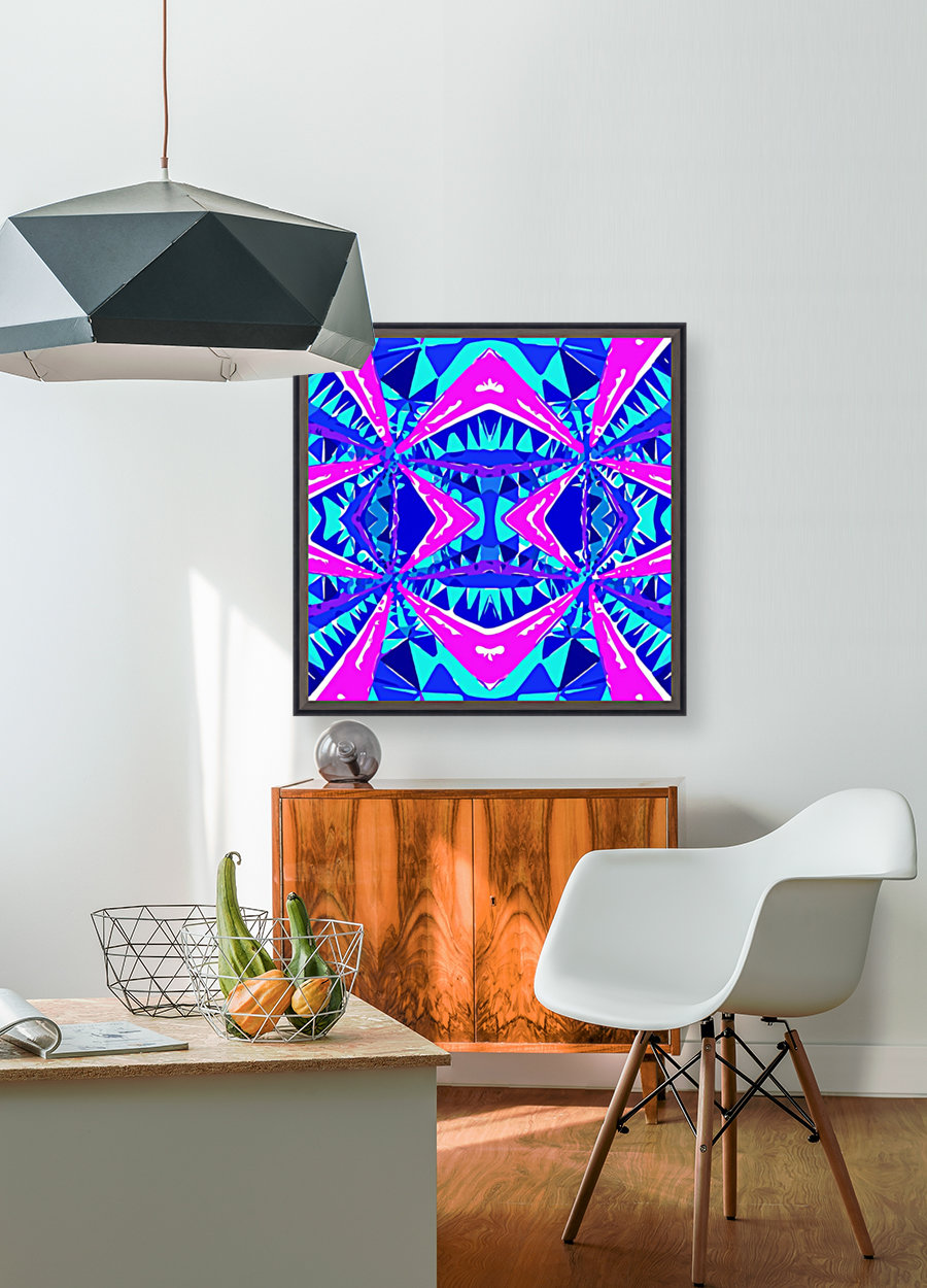 psychedelic geometric abstract pattern background in blue pink purple  Art